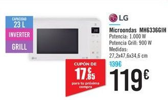 Oferta de Microondas MH6336GIH LG por 119€