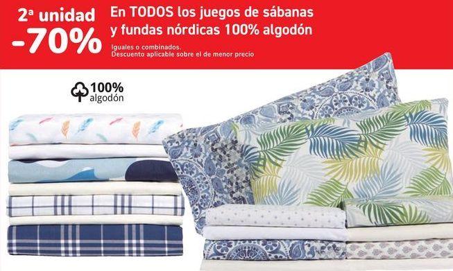 Oferta de En TODOS los juegos de sábanas y fundas nórdicas 100% algodón por