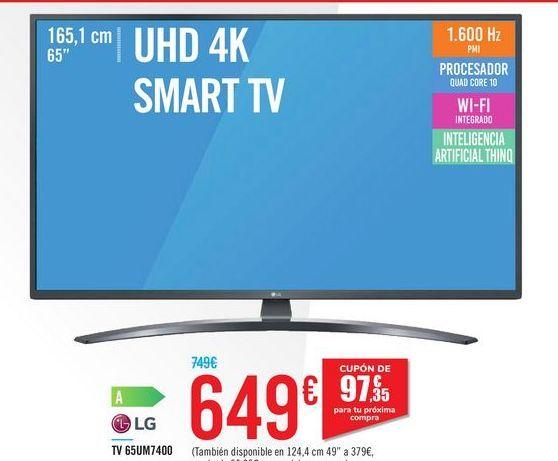 """Oferta de UHD 4K SMART TV 65"""" 65UM7400 LG por 649€"""