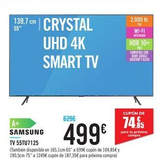 "Oferta de CRYSTAL UHD 4K SMART TV 55"" 55TU7125 SAMSUNG por 499€"