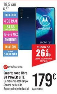 Oferta de Smartphone libre G8 POWER LITE MOTOROLA por 179€