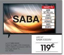 Oferta de Smart tv led 32'' Saba por 119€