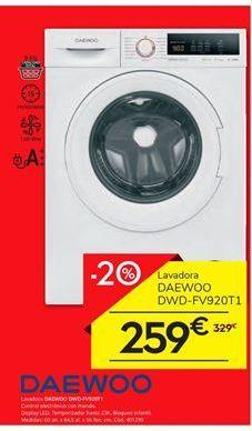 Oferta de Lavadora carga frontal Daewoo por 259€