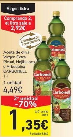 Oferta de Aceite de oliva Virgen Extra Picual, Hojiblanca o Arbequina CARBONELL por 4,49€