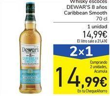 Oferta de Whisky escocés DEWAR's 8 años Caribbean Smooth por 14,99€