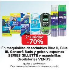 Oferta de En maquinilla desechables Blu II, Bliue, Blue III, Sensor3 uuds y geles y espumas SERIES GILLETTE y maquinillas depilatorias VENUS, iguales o combinadas  por