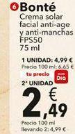 Oferta de Crema solar Bonté por 4,99€
