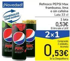 Oferta de Refresco PEPSI Max frambuesa, lima o sin cafeína por 0,53€
