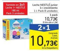 Oferta de Leche NESTLÉ junior 1+ crecimiento  por 10,73€