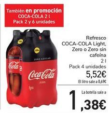 Oferta de Refresco COCA-COLA Light, Zero o Zero sin cafeína  por 5,52€