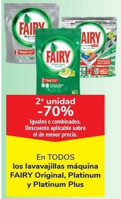 Oferta de En TODOS los lavavajillas máquina FAIRY Original, Platinum y Platinum Plus, iguales o combinados  por