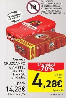 Oferta de Cerveza CRUZCAMPO o AMSTEL por 14,28€