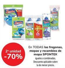Oferta de En TODAS las fregonas, mopas y recambios de mopa SPONTEX, iguales o combinados  por