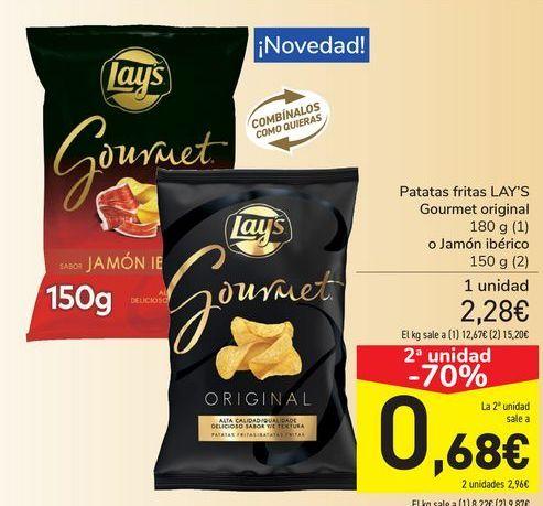 Oferta de Patatas fritas LAY'S Gourmet original o Jamón ibérico por 2,28€