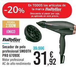 Oferta de Secador de pelo profesional SMOOTH PRO 6709DE BABYLISS por 31,92€