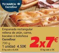 Oferta de Empanada rectangular rellena de atún, carne, bacalao o boloñesa Carrefour por 4,5€
