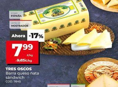 Oferta de Queso de barra Tres Oscos por 7,99€