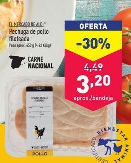 Oferta de Pechuga de pollo aldi por 3,2€