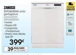Oferta de Lavavajillas Zanussi por 399€