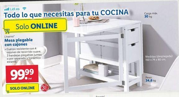 Oferta de Mesa plegable con cajones Livarno por 99,99€