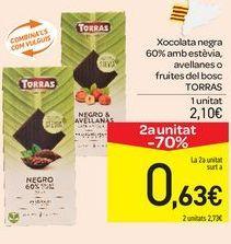 Oferta de Xocolata negra 60% amb estèvia, avellanes o fruites del bosc TORRAS por 2,1€