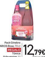 Oferta de Pack Ginebra LARIOS Rose, 70 cl REGALO Tónica Schweppes, por 12,79€