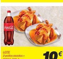 Oferta de LOTE 2 pollos asados + COCA-COLA 1,25 l  por 10€