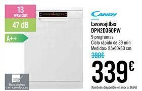 Oferta de Lavavajillas DPN2D360PW CANDY por 339€