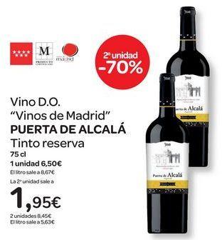 """Oferta de Vino D.O. """"Vinos de Madrid"""" PUERTA DE ALCALÁ Tinto reserva  por 6,5€"""