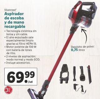 Aspirador Escoba Y De Mano Recargable 130 W Lidl