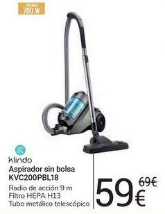 Oferta de Aspirador sin bolsa KVC200PBL18 klindo por 59€