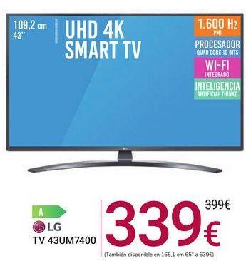 Oferta de TV 43UM7400 LG por 339€