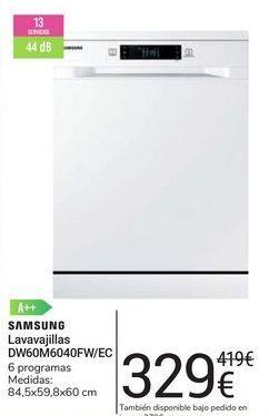 Oferta de Lavavajillas DW60M6040FW/EC Samsung por 329€