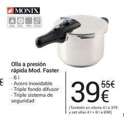 Oferta de Olla a presión rápida Mod. Faster Monix por 39€