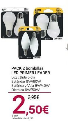 Oferta de PACK 2 bombillas LED PRIMER LEADER por 2,5€