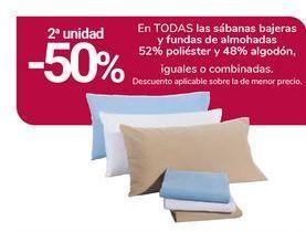Oferta de En TODAS las sábanas bajeras y fundas de almohadas 52% poliéster 48% algodón por