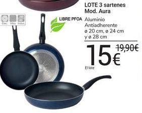 Oferta de LOTE 3 sartenes Mod. Aura por 15€
