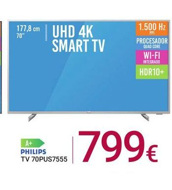 Oferta de TV 70PUS7555 Philips por 799€