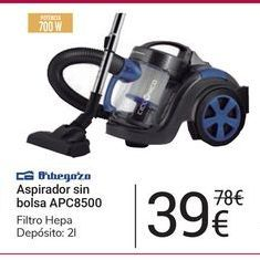 Oferta de Aspirador sin bolsa APC8500 Orbegozo por 39€