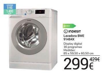 Oferta de Lavadora BWE 91484X Indesit por 299€