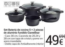 Oferta de Set batería de cocina 5 + 2 piezas de aluminio fundido carrefour por 49€