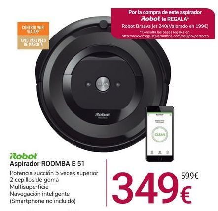 Oferta de Aspirador ROOMBA E 51 Irobot por 349€