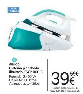 Oferta de Sistema de planchado ilimitado KSG2100-18 klindo por 39€