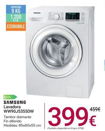Oferta de Lavadora WW90J5355DW Samsung por 399€
