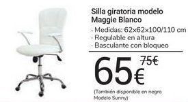 Oferta de Silla giratoria modelo Maggie Blanco por 65€