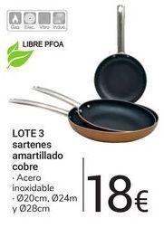 Oferta de LOTE 3 sartenes amartillado cobre por 18€
