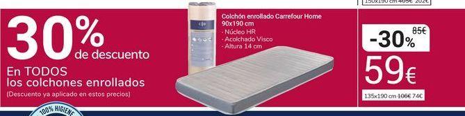 Oferta de Colchón enrollado Carrefour Home 90x190 cm por 59€