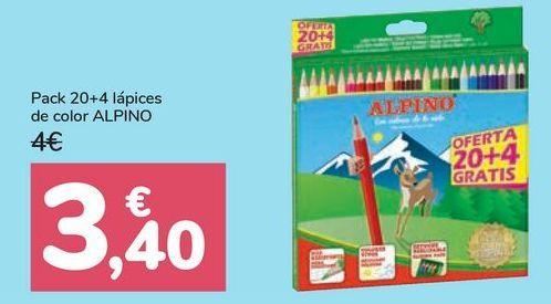 Oferta de Pack 20+4 lápices de color ALPINO por 3,4€