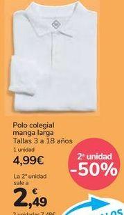 Oferta de Polo colegial manga larga por 4,99€