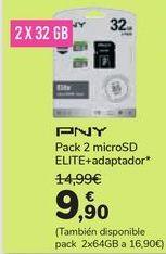 Oferta de Pack 2 micro SD ELITE+adaptador PNY por 9,9€